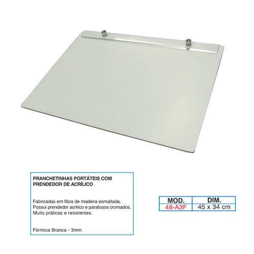 Prancheta Portátil em Fórmica com 3 mm de Espessura, Trident 48-A3F, Branco, Formato A3