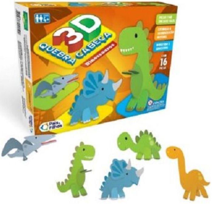 Quebra-Cabeça 3D - Dinossauros - 16 Peças - Pais & Filhos