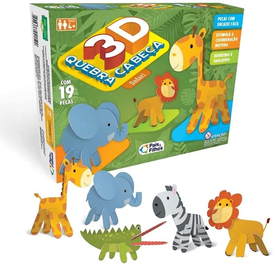 Quebra-Cabeça 3D - Safari - 19 Peças - Pais & Filhos