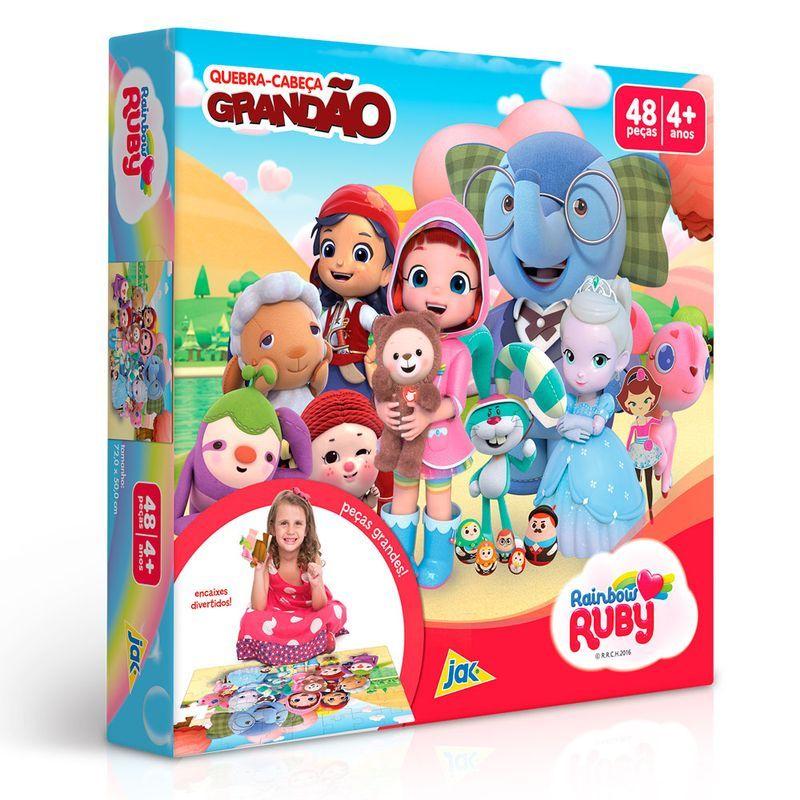Quebra-Cabeça Grandão - Rainbow - Ruby - 48 Peças - Toyster