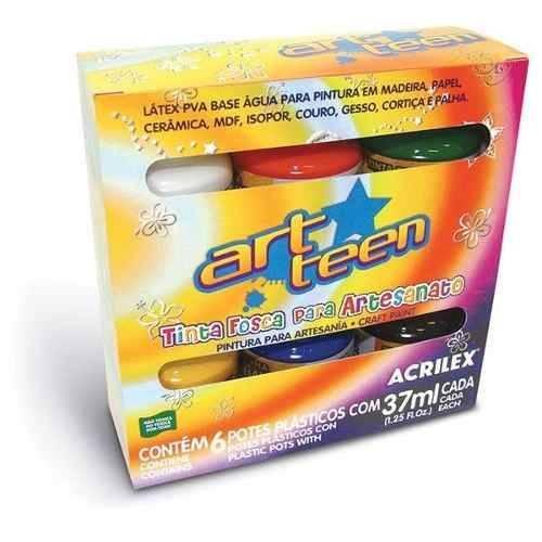 Tinta Fosca Acrilex Para Artesanato C/ 6 Cores