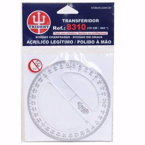 Transferidor Acrílico 360° - 10 cm - Ref 8310 , Trident, Incolor