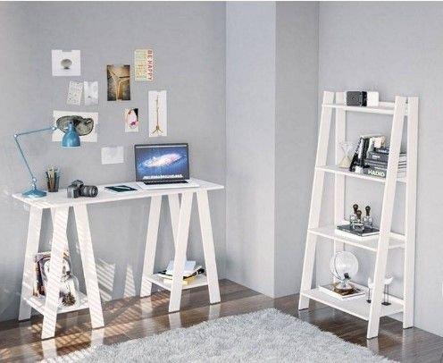 Conjunto Mesa e Estante Office 4 Prateleiras Delta Branca - MX14