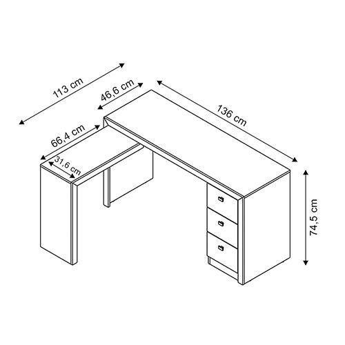 Escrivaninha/Mesa para Computador 3 Gavetas ME4101 Branco - MX14
