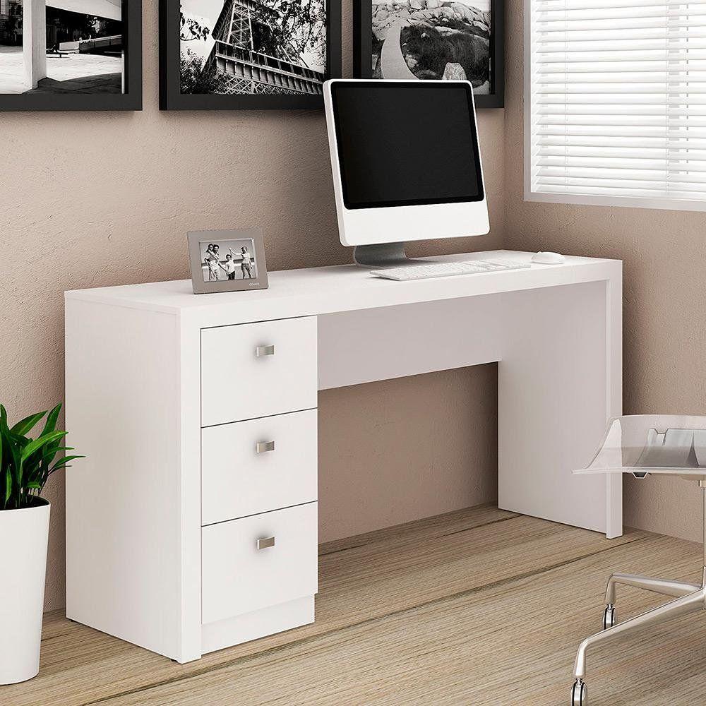 Escrivaninha/Mesa para Escritório 3 Gavetas ME4102 Branco - MX14