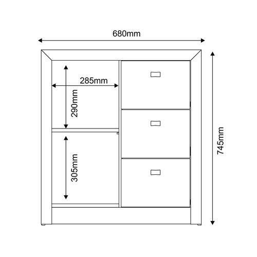 Gaveteiro para Escritório ME4111 3 Gavetas 1 Porta Branco - MX14