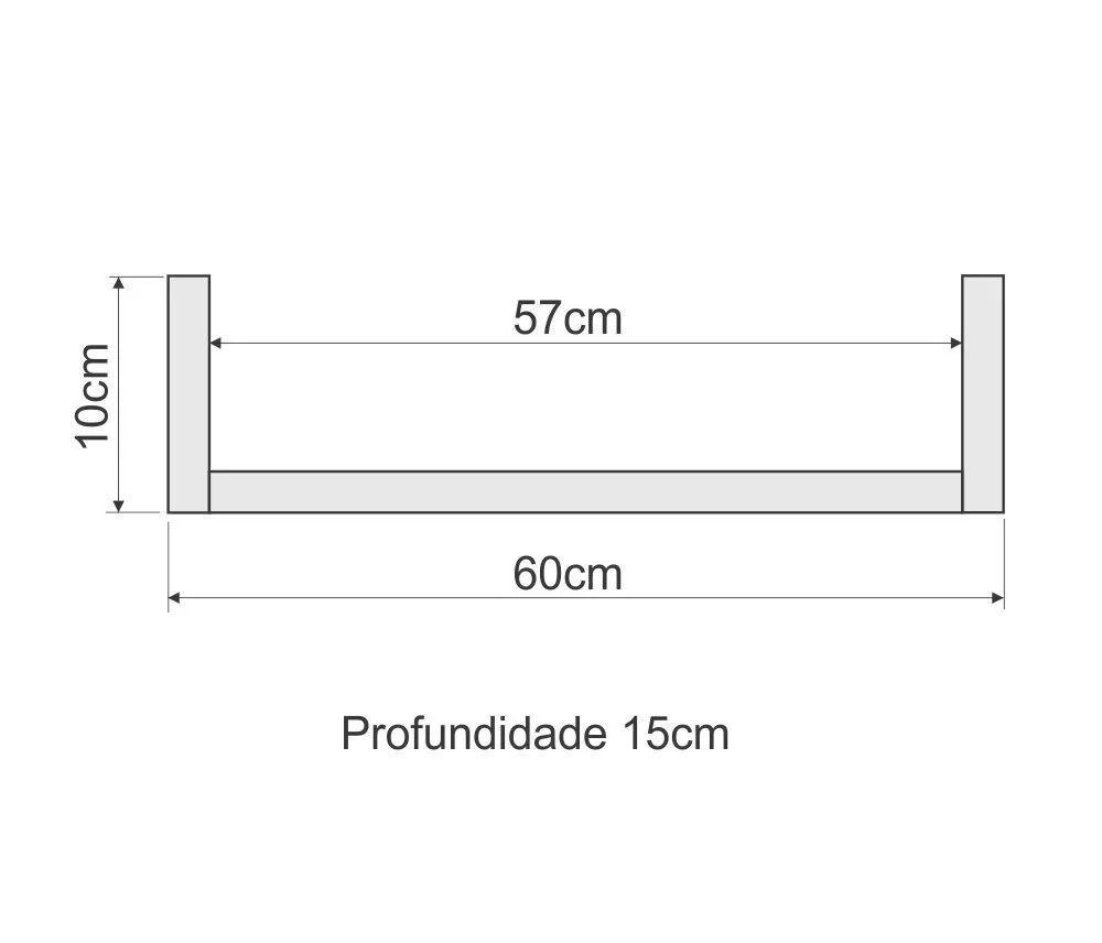 Kit 3 Prateleiras U 60cm Branco Nicho Livros Mdf