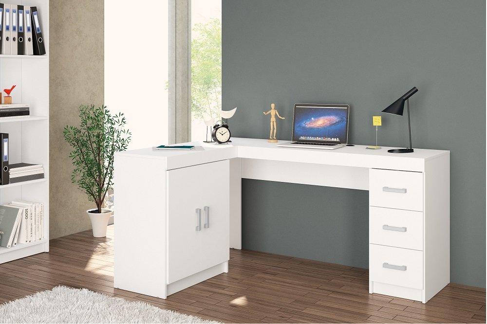 Kit Escritório com 2 Portas e 3 gavetas Branco - MX14