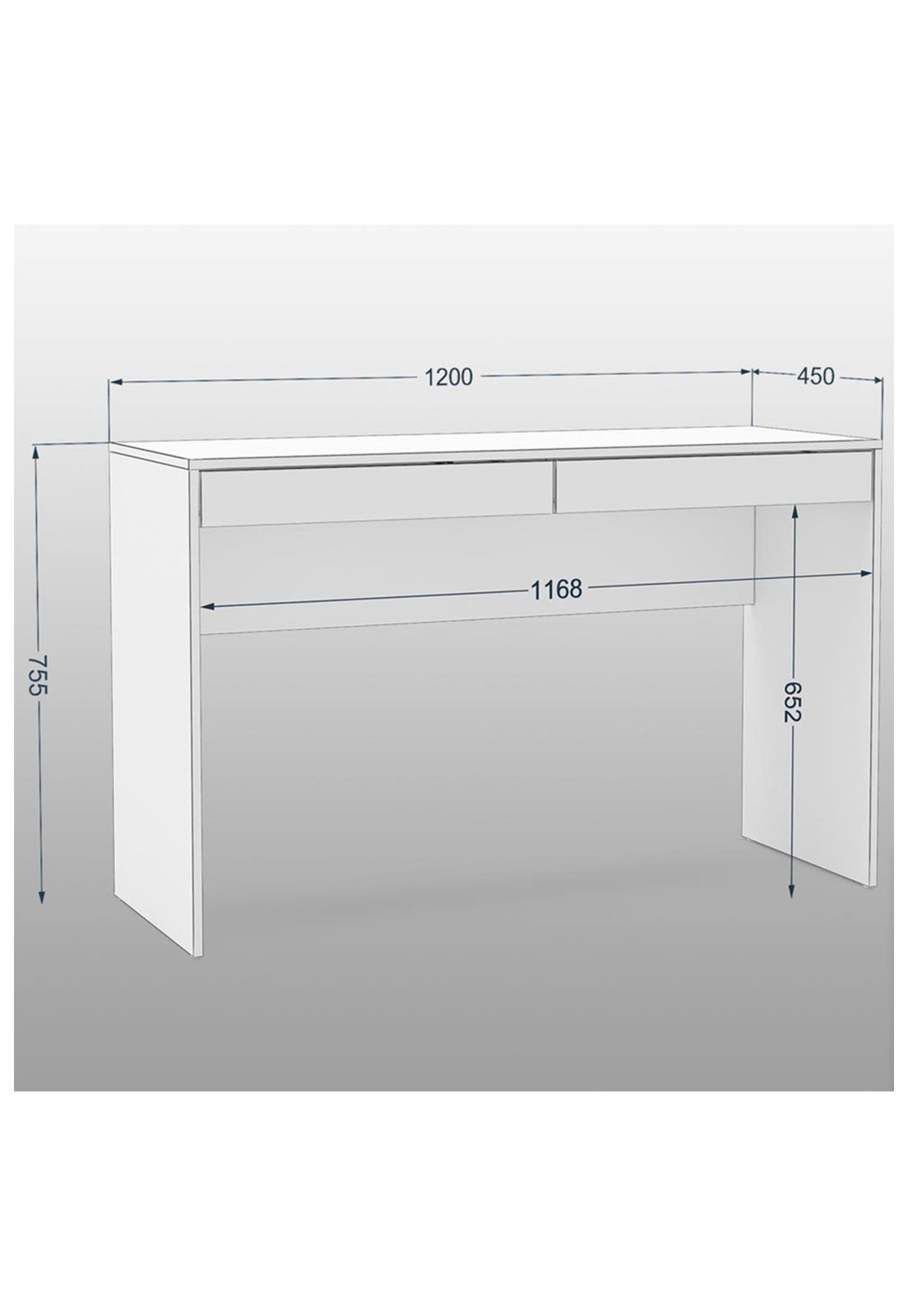 Mesa de Escritório com 2 Gavetas - MDF de 15 mm