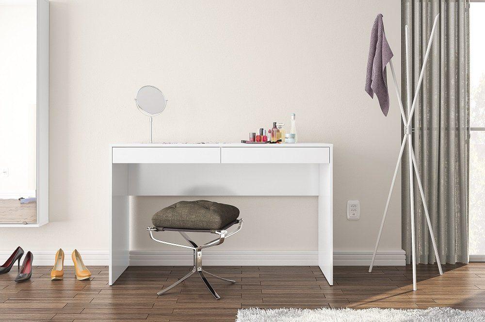 Mesa de Escritório com 2 Gavetas Mx14 Branco