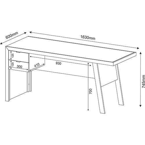 Mesa para Escritório 2 Gavetas ME4122 Branco - MX14