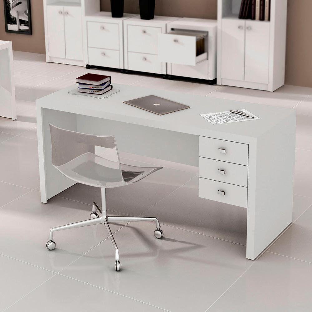 Mesa para Escritório 3 Gavetas ME4113 Branco - MX14