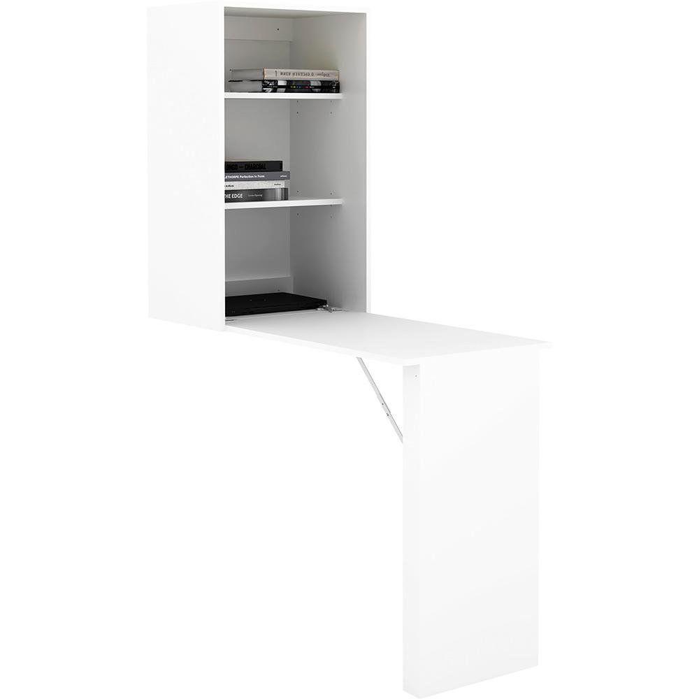 Mesa para Escritório com Armário Fixo na Parede AM3106 Branco - MX14