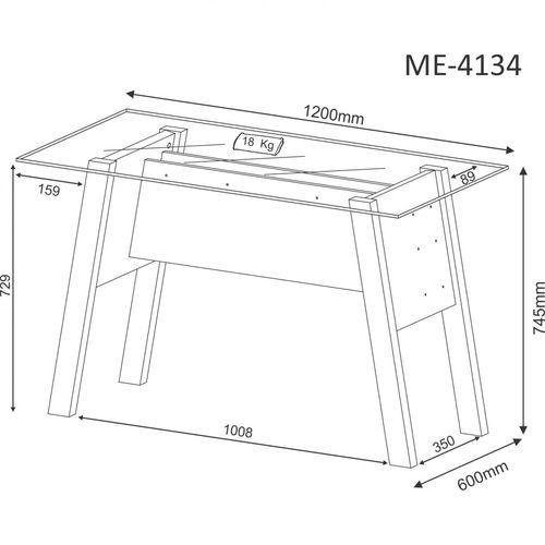 Mesa Para Escritório Com Tampo Vidro Temperado ME4134 Branco - MX14