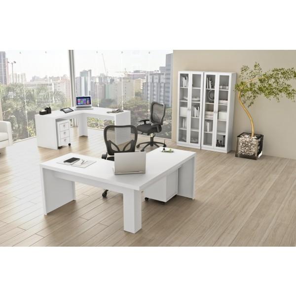 Mesa para Escritório em L Angular - Branca