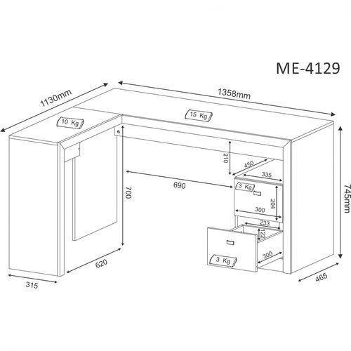 Mesa para Escritório em L com 2 gavetas ME4129 Branco - MX14