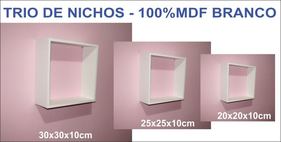 Nicho Decorativo Mdf Kit 3 Unidades