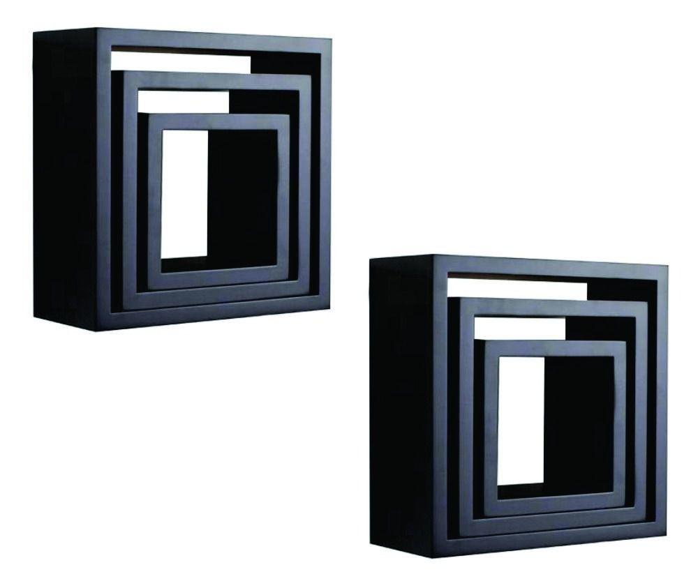Nicho Decorativo Mdf Kit 6 Unidades - Cor Preto