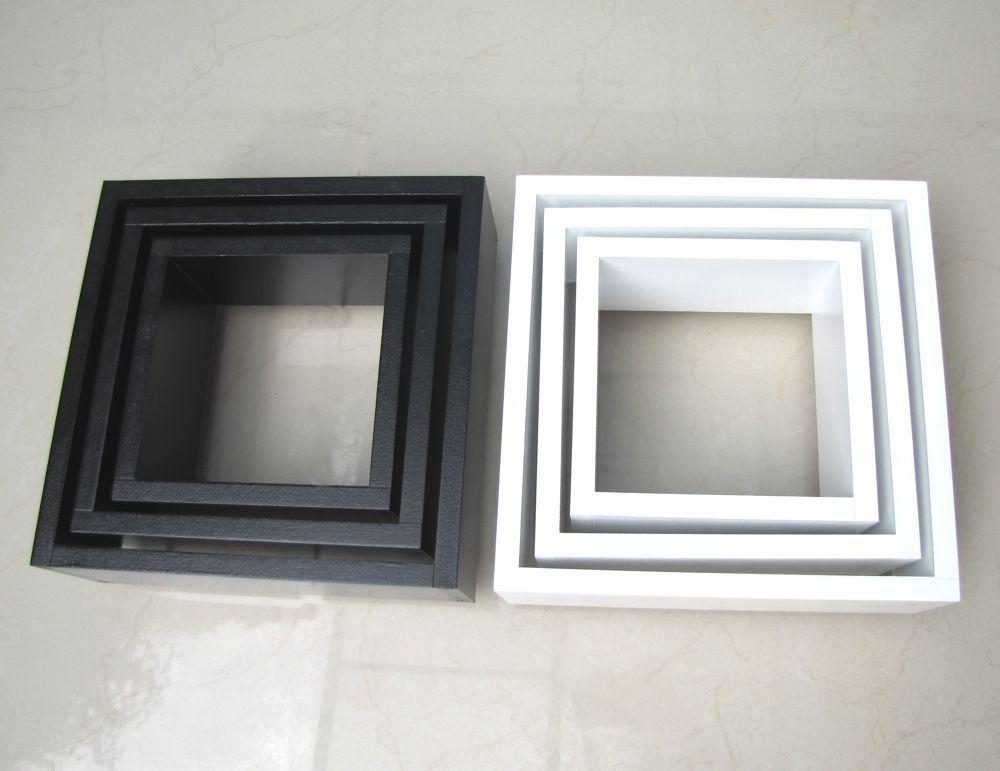 Nicho Decorativo Mdf Kit 6 Unidades - Cor Preto Branco