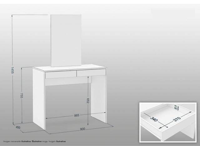 Penteadeira com Espelho 2 Gavetas Branco - MX14