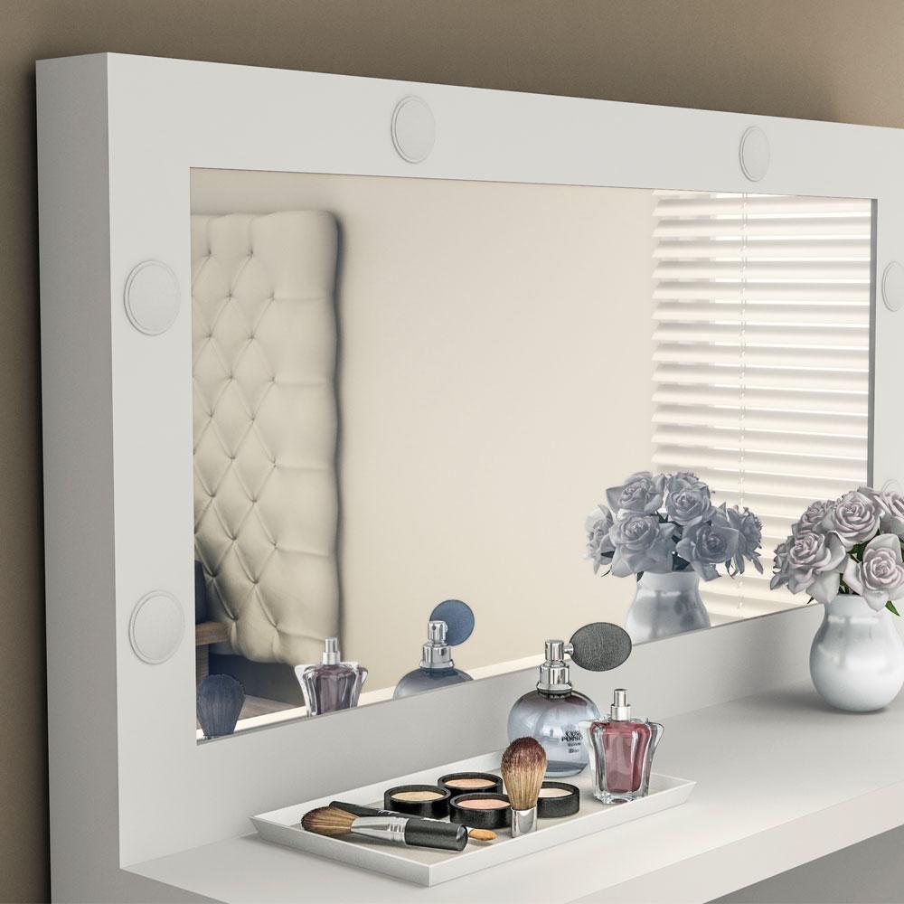 Penteadeira PE2001 com Espelho 3 Gavetas Branca - MX14