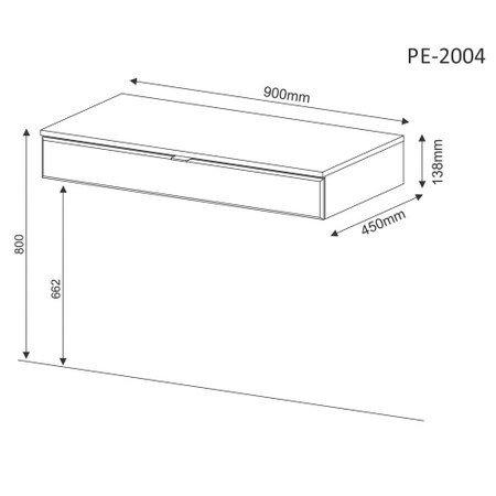Penteadeira Suspensa com Espelho PE2004 / PE2006 Branca - MX14