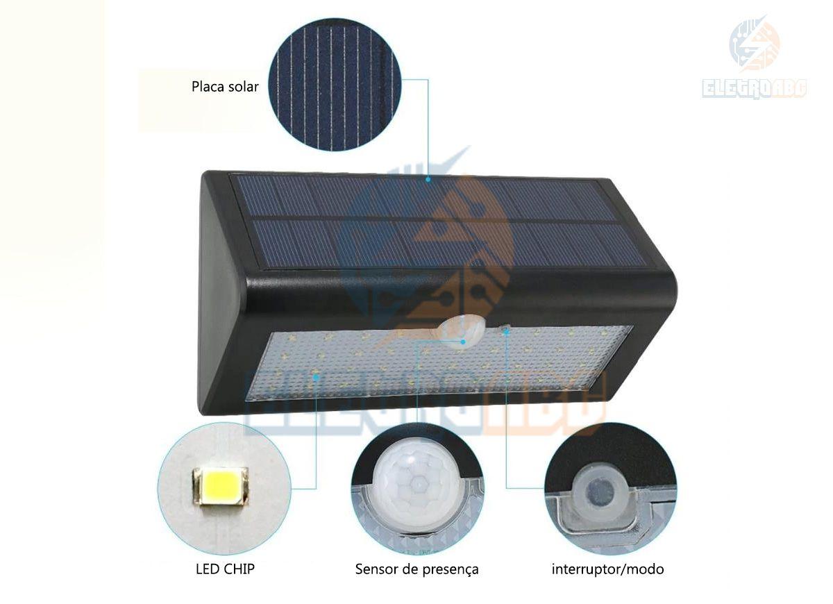 Arandela Solar com sensor 5,6W Luz branca 6500K