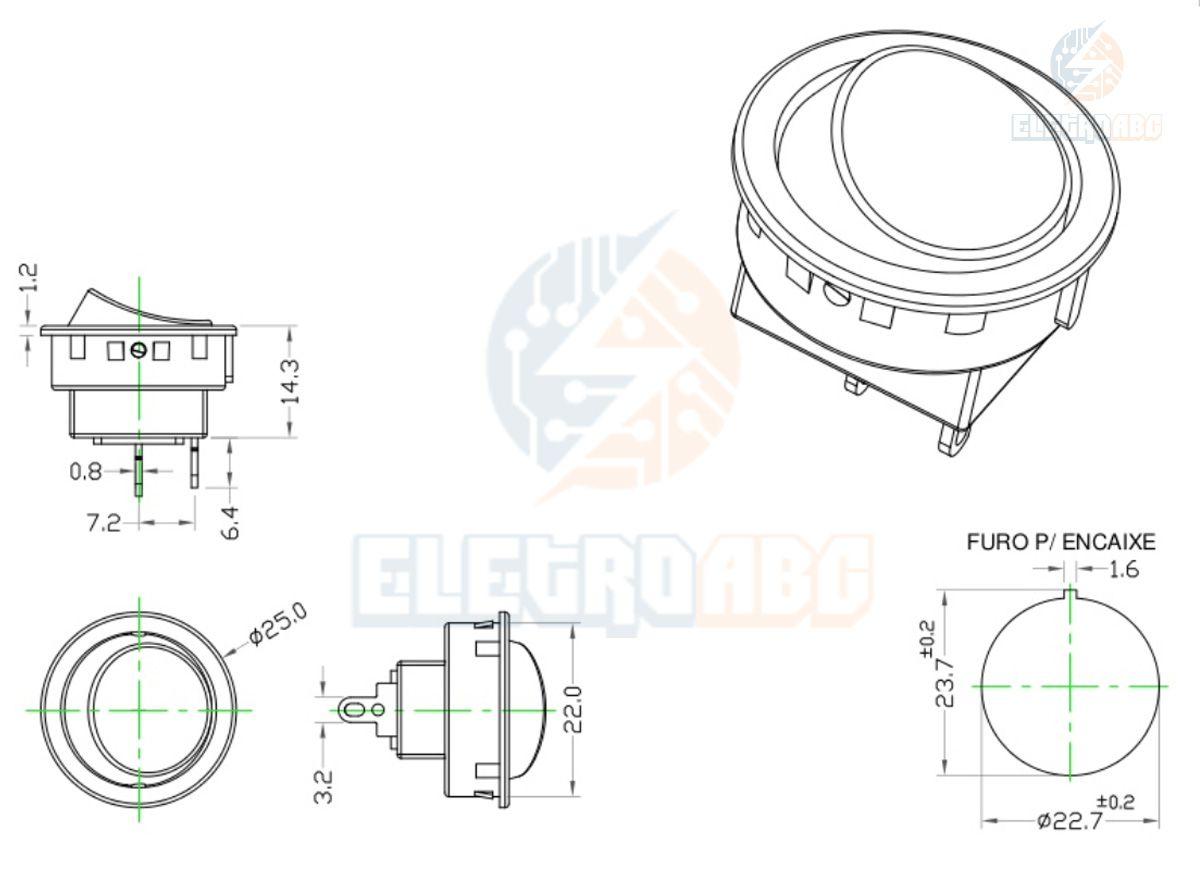 Botão redondo Liga/desliga Tic-Tac On/Off 6A