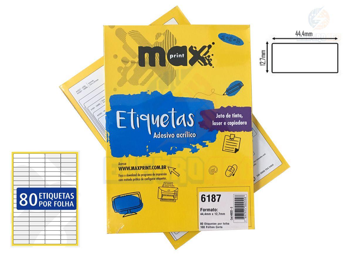 Caixa de Etiquetas 6187 Com 100 Folhas 80 etiq/folha Maxprint