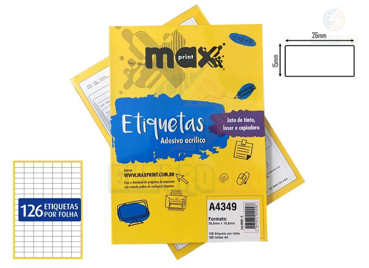 Caixa de Etiquetas A4349 Com 100 Folhas 126 etiq/folha Maxprint