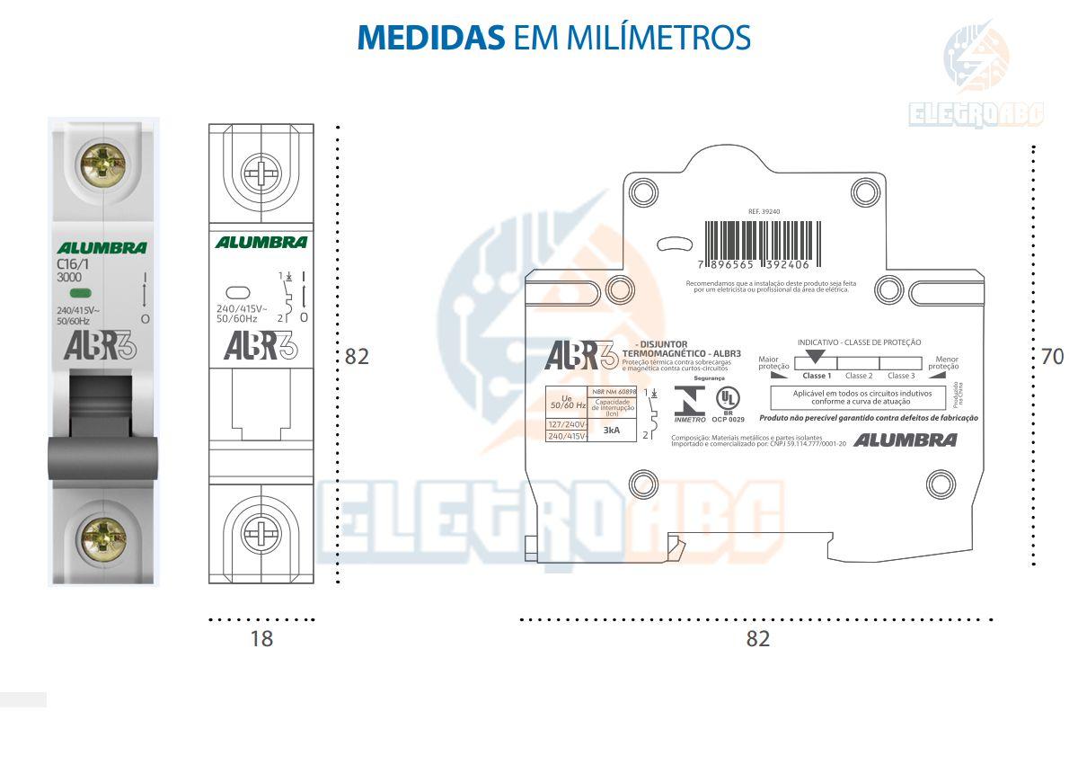 Disjuntor Unipolar ALBR3 C16/1 A