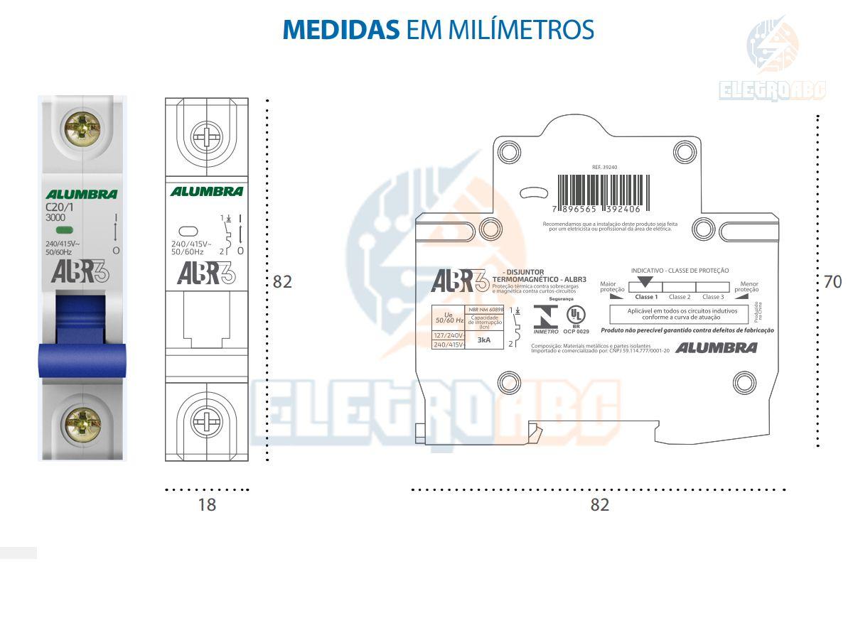 Disjuntor Unipolar ALBR3 C20/1 A