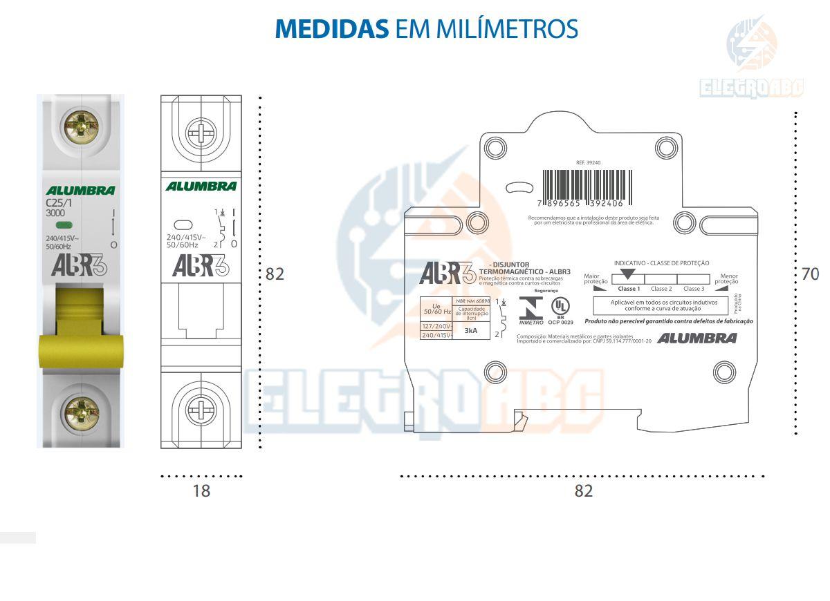 Disjuntor Unipolar ALBR3 C25/1 A