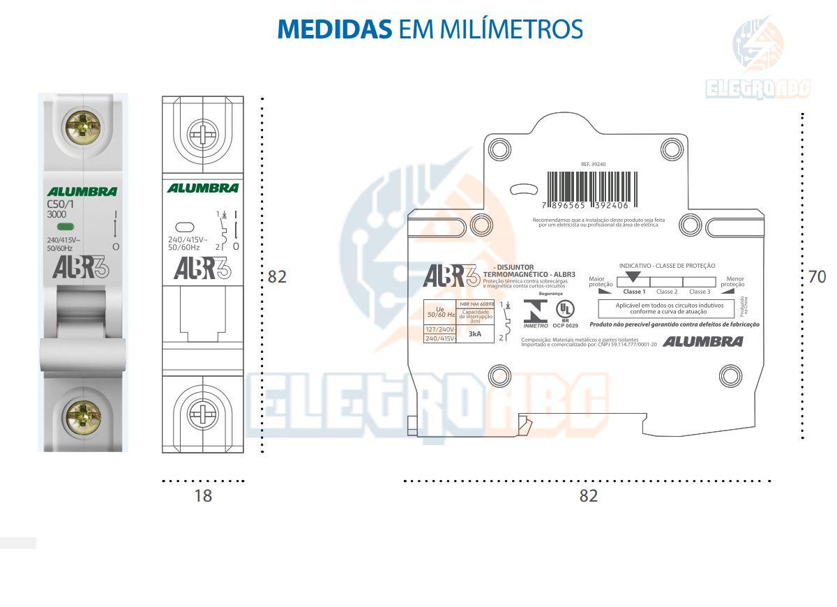 Disjuntor Unipolar ALBR3 C50/1 A