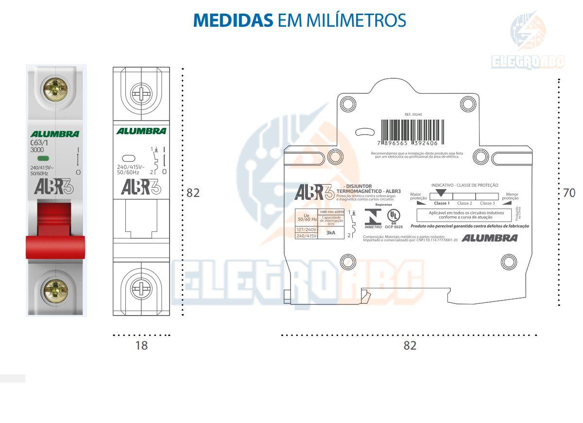 Disjuntor Unipolar ALBR3 C63/1 A