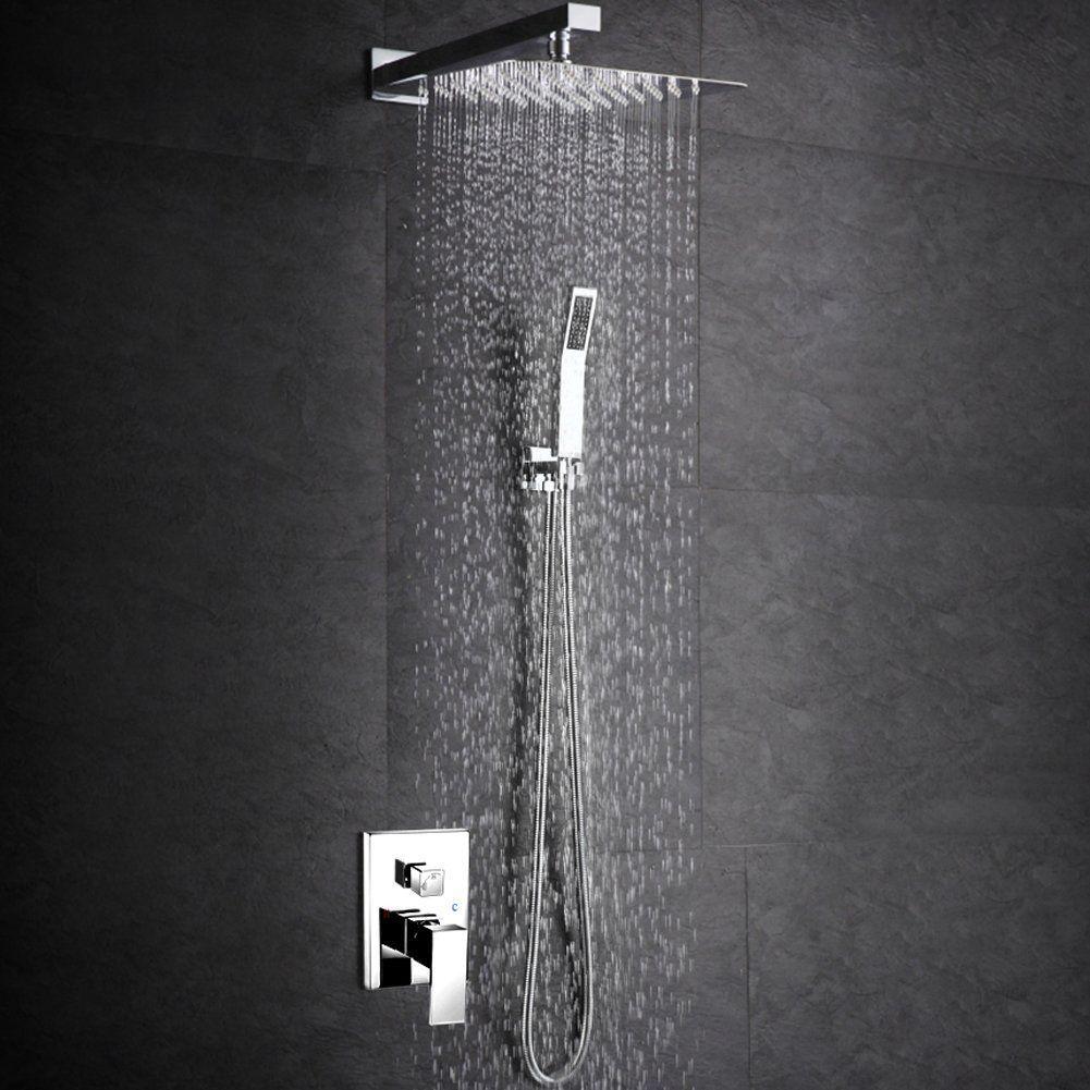Ducha de metal cromado quadrada com braço
