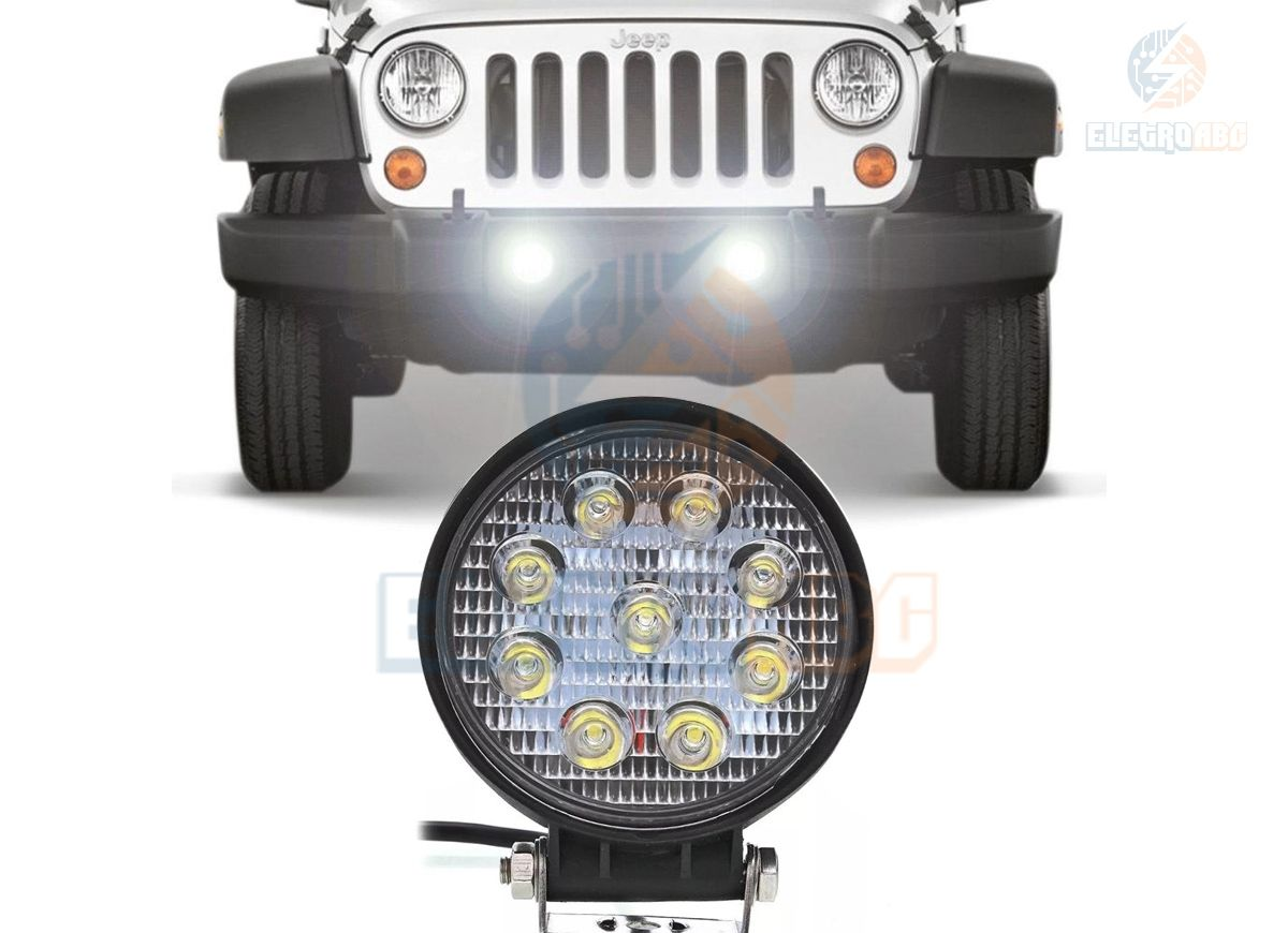 Farol Milha Redondo AUTOM. 9 LEDS 25 watts IP65