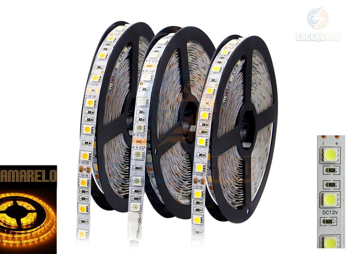 Fita LED 5050 Ambar com silicone
