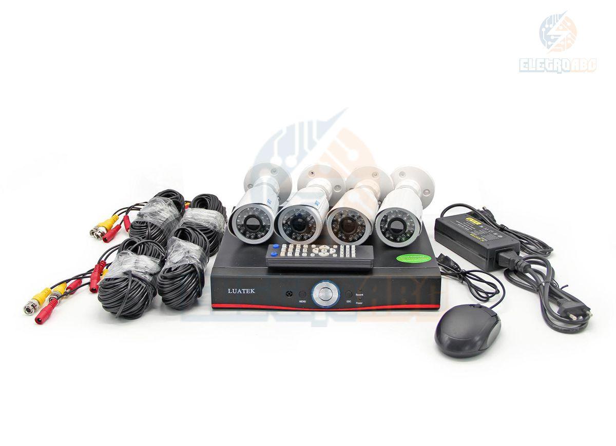KIT 4 Câmeras de Segurança HD e DVR 8 saídas+Acessórios