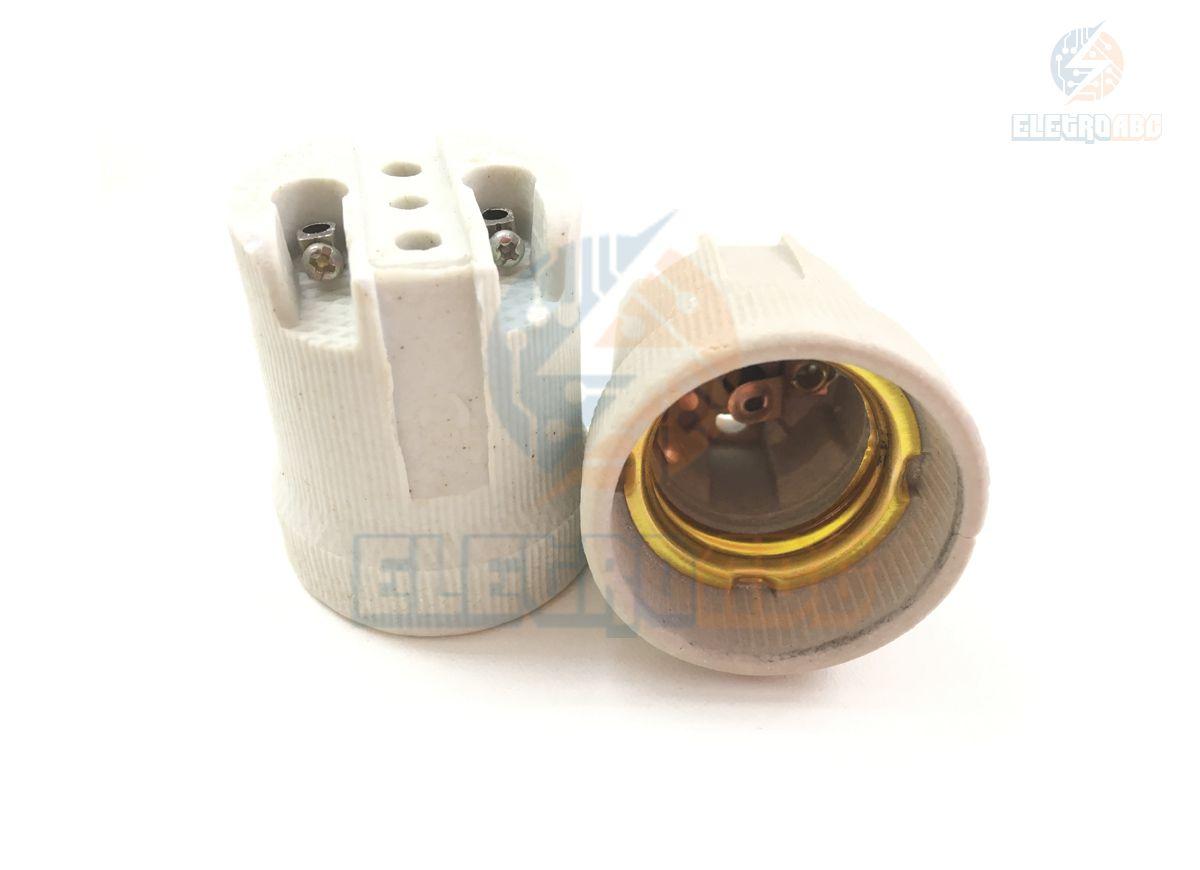 Kit com 100 Receptáculos/soquetes de porcelana Rosca E-27