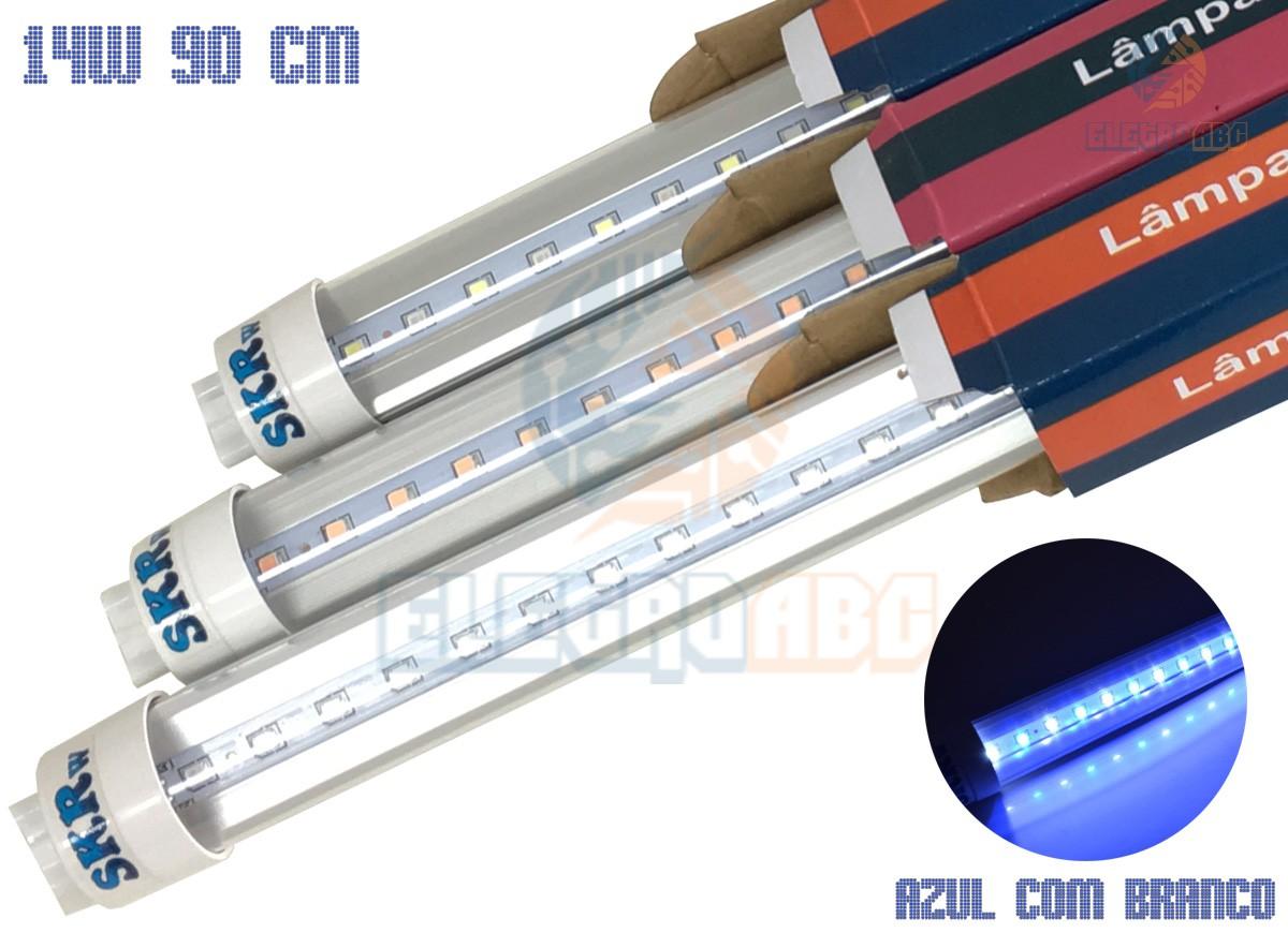 Lampada de LED SKRw Tubol.T8 14W 90cm Azul/BR
