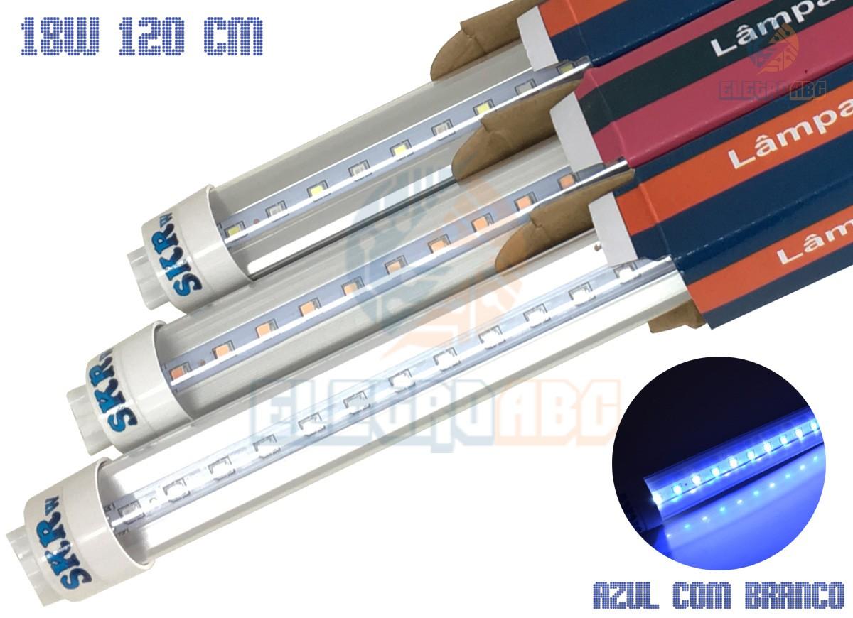 Lampada de LED SKRw Tubol.T8 18W 120cm Azul/BR