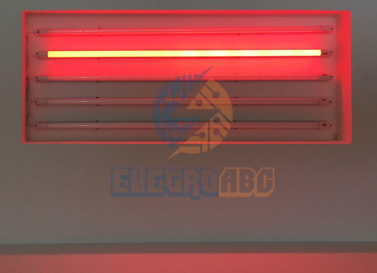 Lâmpada LED T8 sem calha 120 cm 18 W VERMELHO Leitoso vidro