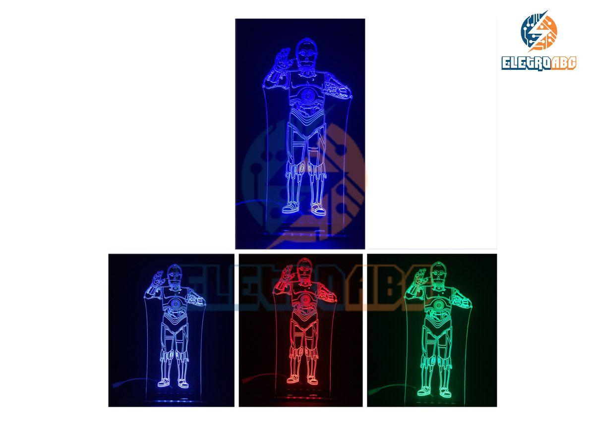 Luminaria/Abajur 3D ILUSION C-3PO