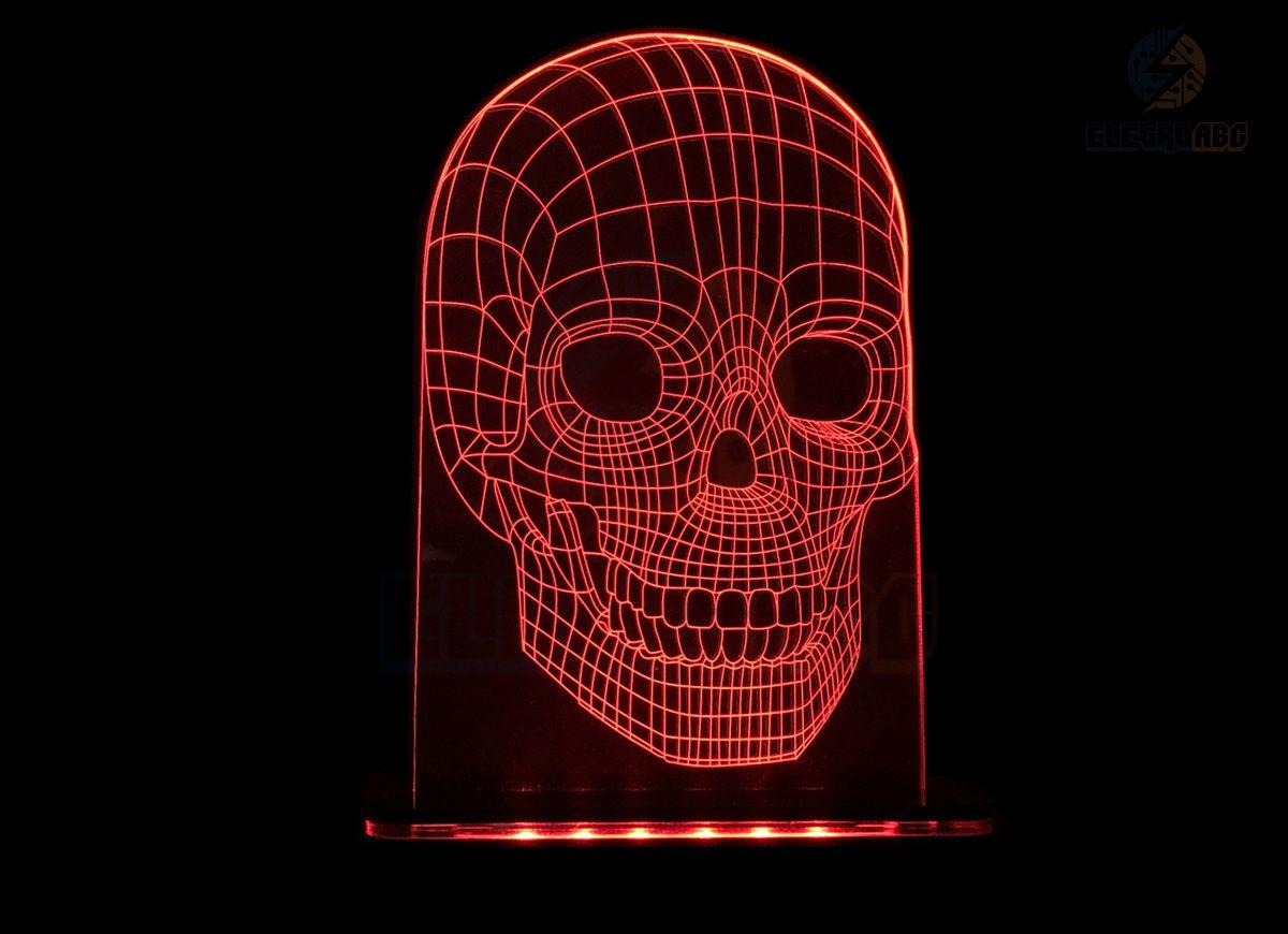Luminaria/abajur 3D ILUSION Caveira