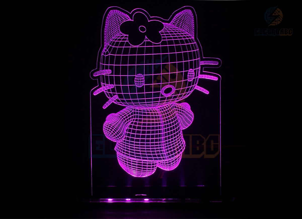 Luminaria/Abajur 3D ILUSION Gatinha kit