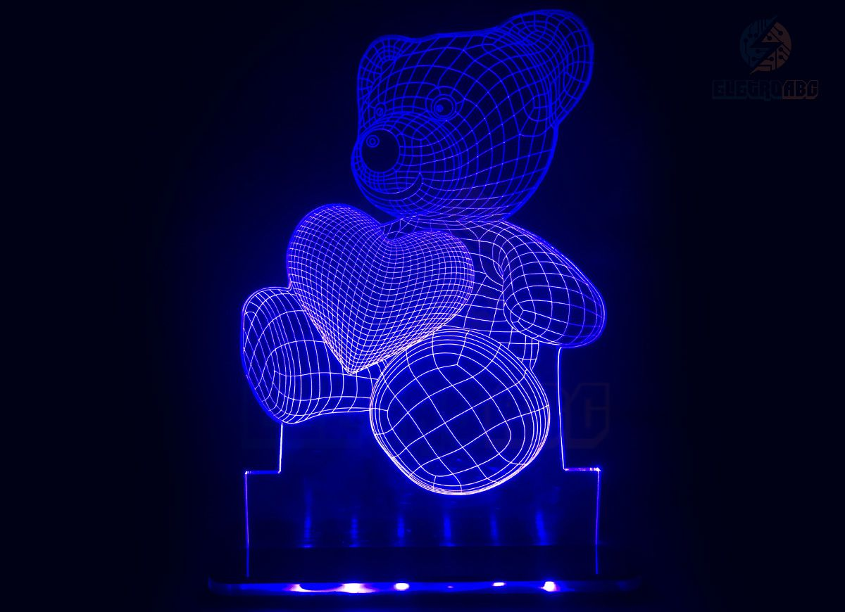 Luminaria/Abajur 3D ILUSION Ursinho c/coração