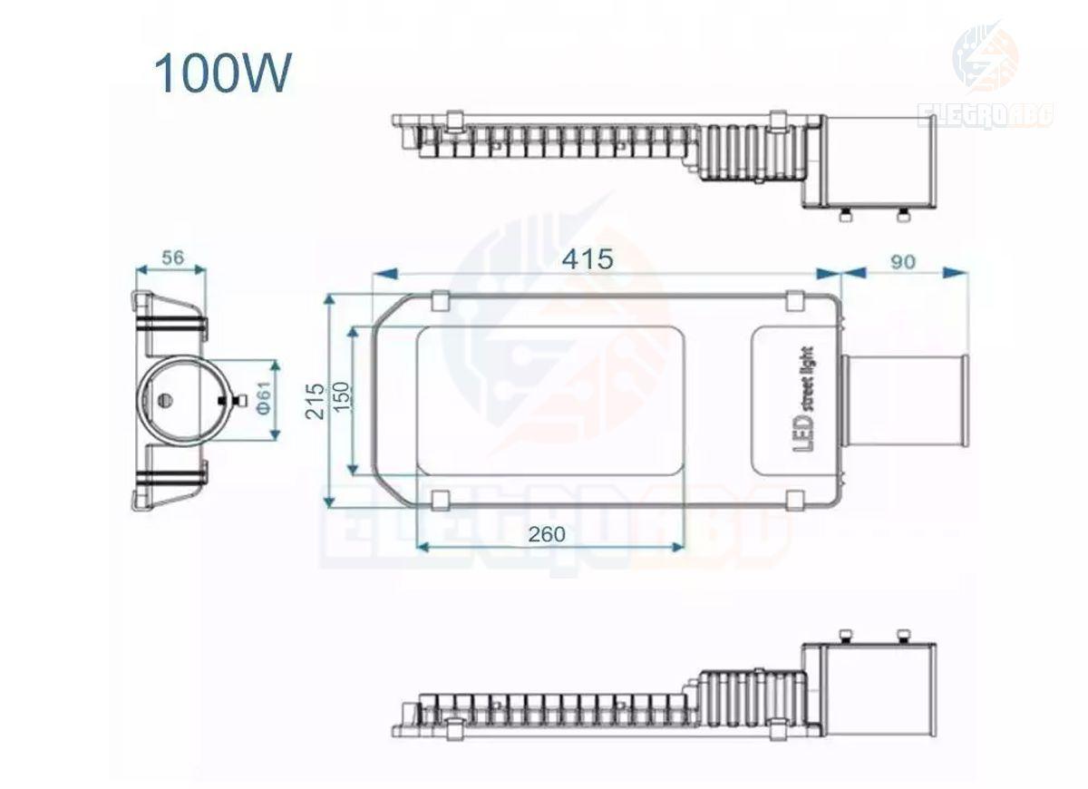 Luminária LED SMD Pública para poste 100 watts