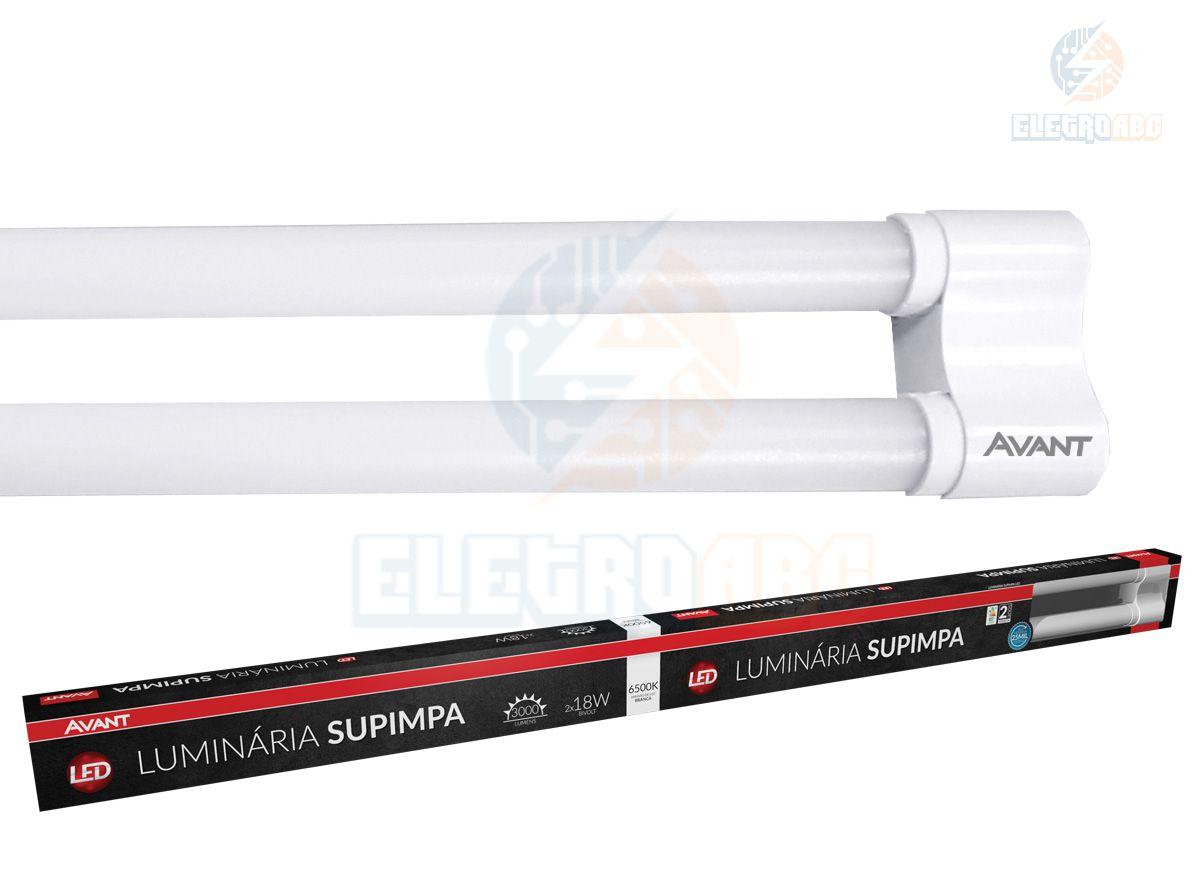 Luminária LED Supimpa 2x18 W 120 CM