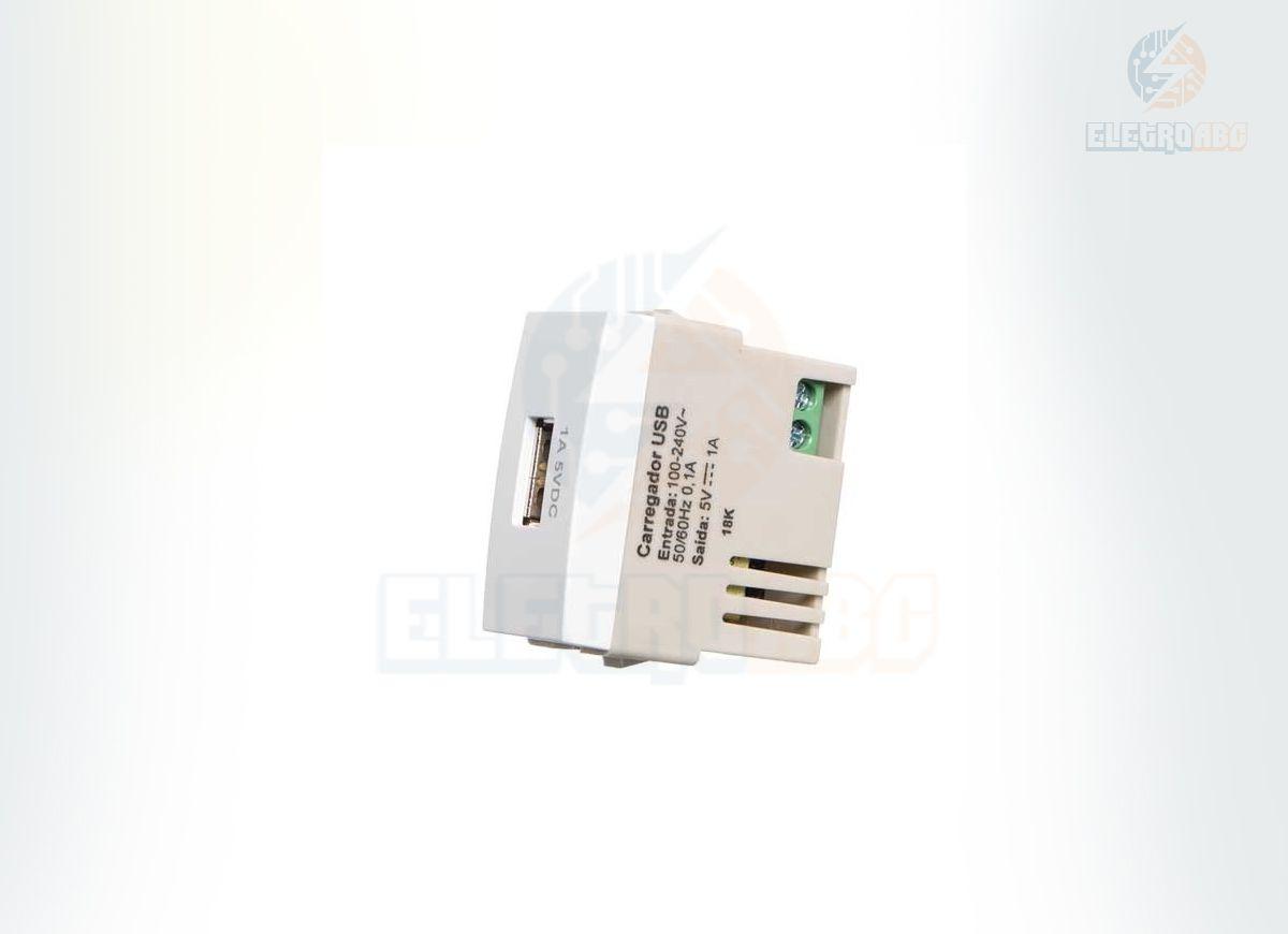 MODULO TOMADA CARREGADOR USB 1A-BIVOLT BR SLEEK